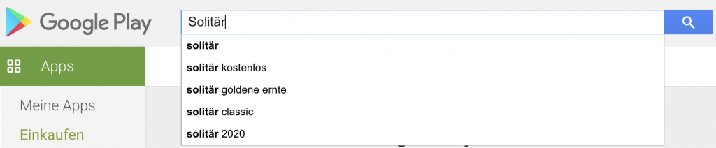 """Suche nach einem beliebigen Spiel auf """"Google Play"""""""