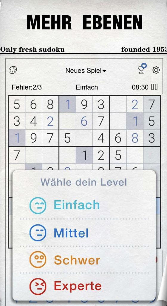 """Vorschau und Schwierigkeit zum Spiel """"Sudoku"""""""
