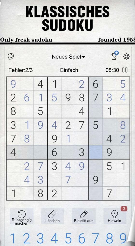 """Vorschau zum Spiel """"Sudoku"""""""