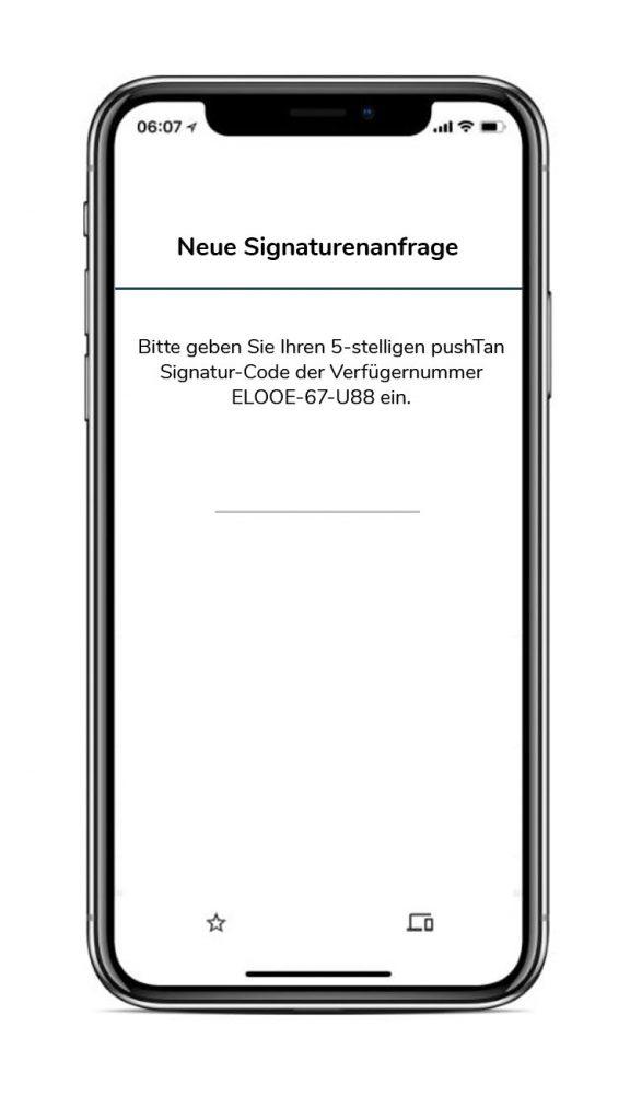 Bildschirm für die Eingabe des Signatur-Codes